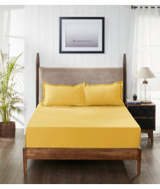 Percale Gold Sand Bedsheet Double Size