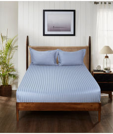 Satin Stripe Blue Bedsheet Super King Size