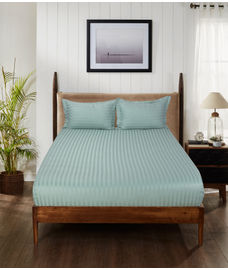 Satin Stripe Aqua Bedsheet Super King Size