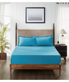 Percale Peacock Blue Bedsheet Super King Size