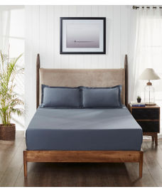 Percale Slate Bedsheet Super King Size