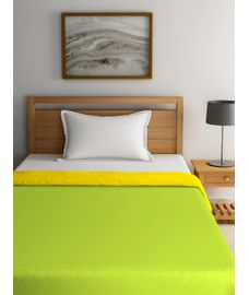 Blockbuster Green Glow & Lemon Yellow Comforter Single Size