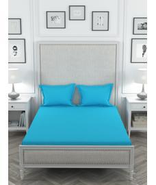 Colors Bright Blue Bedsheet Super King Size