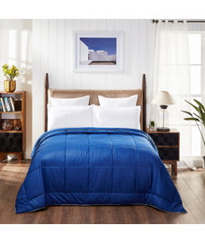 Portico New York Snow Flakes Collection - Sapphire Blue Double Size Comforter (Super soft micro fabric, Reversible)