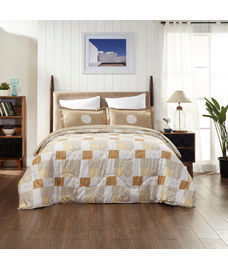 Portico New York Mosaics Collection - Orange-Hued Checkered Print King Size Comforter (100% Cotton, Reversible)