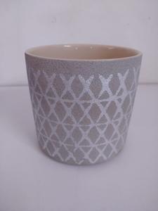 Large Grey Pot with Silver Diamond Pattern