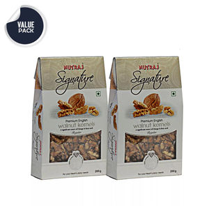 Nutraj Signature Regular English Walnut Kernels 200G (Pack Of 2) - Vacuum Pack