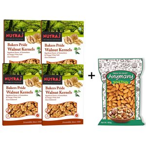 California Almonds 900gm + Bakers Pride Broken Walnuts 1Kg (250gm Pack of 4 Each)