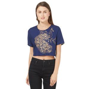 Desi Belle Blue Printed Women Crop Top