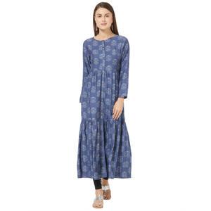 Desi Belle Full Sleeves Blue Printed Women Dress