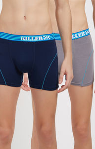 Navy and Grey Solid Trunks - Pack of 2
