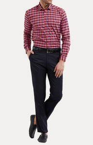 Coral and Blue Checked Casual Shirt