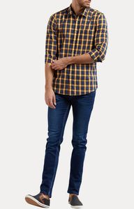 Blue and Yellow Checked Casual Shirt