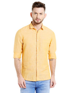 Solid Yellow Color Slim Fit shirt