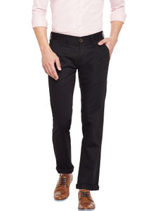 Solid Black Color Casual Trousers