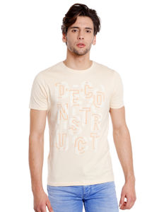 Printed Orange Color Slim Fit T-Shirt