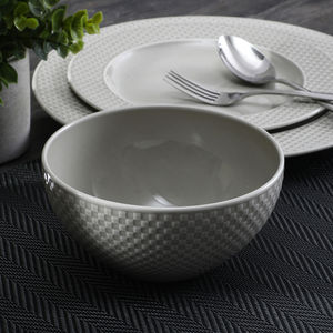 Set Of 4- Beige Ripple Textured Small Bowl