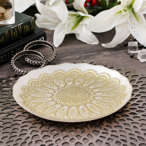 Cream And Gold Moorish Gloria Dessert Plate