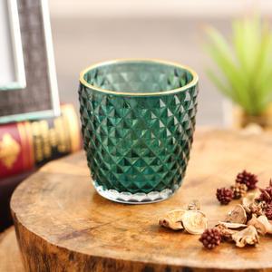 Set Of 2 Green Diamond Pattern Candle Votive