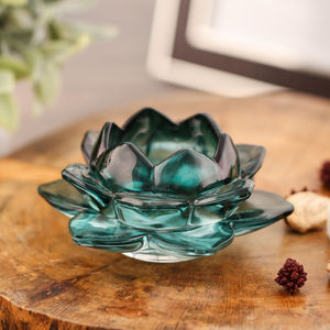Set Of 2 Green Blooming Lotus Candle Votive