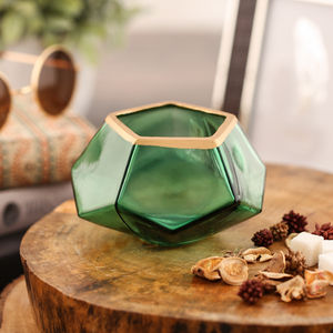 Set Of 2 Emerald Green Hexagon Votive