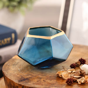 Set Of 2 Deep Sea Blue Hexagon Votive