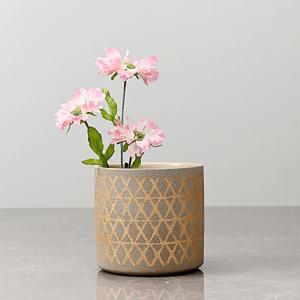 Large Beige Pot with Golden Diamond Pattern