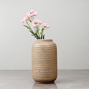 Large Beige Cylindrical Vase with Golden Stripes