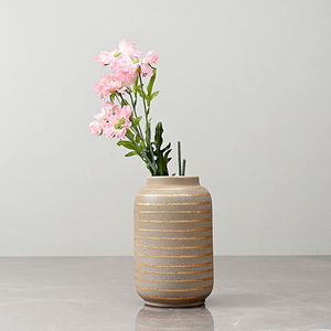 Small Beige Cylindrical Vase with Golden Stripes