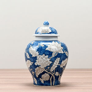 Blue and White Floral Apothecary Jar