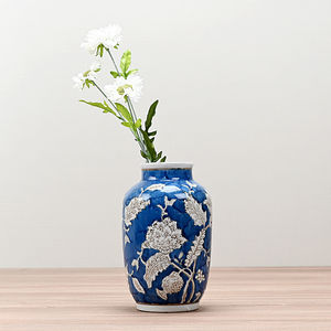 Blue and White Floral Ceramic Vase