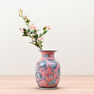 Small Pink and Grey Floral Ceramic Vase