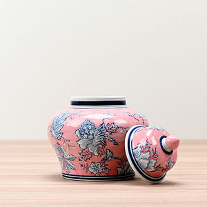 Pink and Grey Floral Apothecary Jar