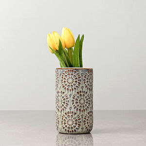 Small Grey and Brown Floral Textured Vase