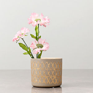 Set of 2: Small Beige Pot with Golden Diamond Pattern