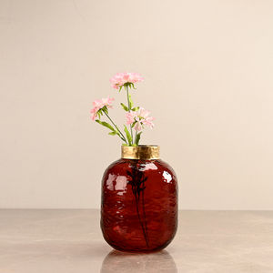 Small Red Vase with Golden Ring
