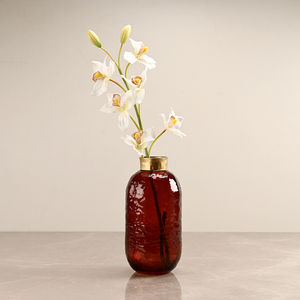 Large Red Vase with Golden Ring