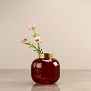 Round Red Vase with Golden Ring