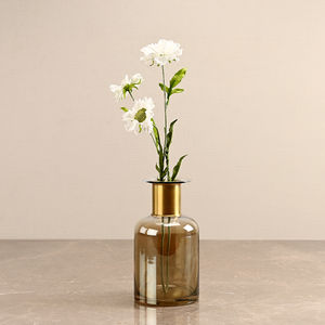 Small Ombre Gold and Clear Vase with Copper Ring