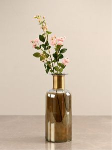 Large Ombre Gold and Clear Vase with Copper Ring