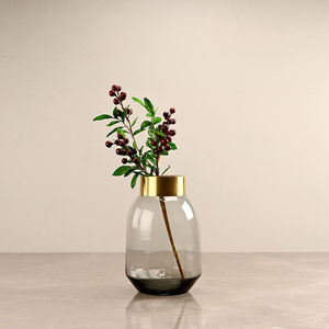 Ombre Grey Modern Vase with Copper Ring