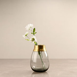 Ombre Grey Table Vase with Copper Ring