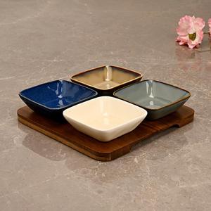 Set of 4: Multicolour Ceramic Appetizer Platter