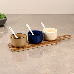 Set of 3 Multicolour Ceramic Appetizer Bowl with Paddle