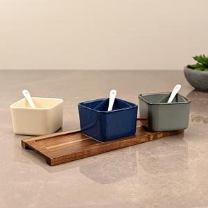 Set of 3 Multicolour Ceramic Dessert Bowls
