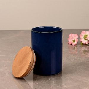 Small Prussian Blue Ceramic Storage Jar