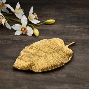 Large Gold Leaf Platter Centrepiece