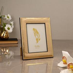 Large Golden & Brown Croco Photo Frame