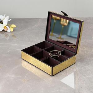 Golden & Brown Mirrored Croco Jewellery Box