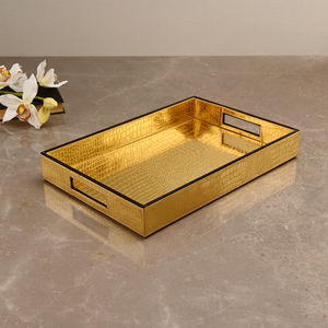 Rectangle Golden & Brown Croco Tray